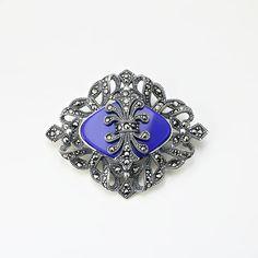 Brosa argint cu piatra albastra si marcasite - ICA0001 Brooch, Jewelry, Fashion, Moda, Jewlery, Jewerly, Fashion Styles, Brooches, Schmuck