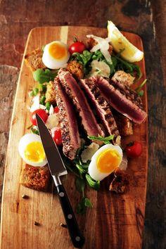 Sumac encrusted seared tuna steak and duck egg salad
