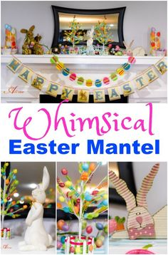 My Whimsical Easter Mantel is the highlight of my spring decor. It is playful, colorful, and adds the perfect touch of whimsy. Plus, it's easy and inexpensive. #OrientalTrading #ad