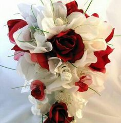 Red rose +hibiscus bouqet