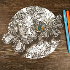 Beautiful and fun! The Divine Butterflies Mandala ColorMe Decal by Valentina Harper features two butterflies fluttering over a group of flowers and shows off Valentina's signature doodle style that is so fun to color! Intricacy level: high