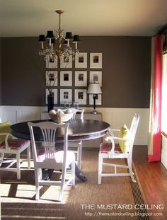 great trim under the chair rail in a dining room. Love the picture frame idea too. Something dramatic and custom looking about a thick mat.