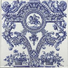 Mirabellicious ♥: The Tile Files: Delftware. Two plaques from a Column, De Grieksche A pottery factory, by artist Adrianus Kocx (circa 1690), via Rijksmuseum (Amsterdam).