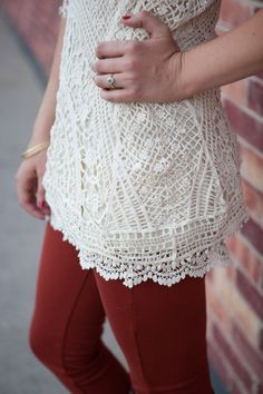 Lace extenders: the solution to sheer and too-short tops!  Sweet Pea Crochet Trim Skirt Extender-Cream