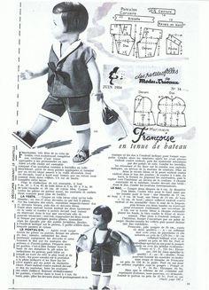PAR AMOUR DES POUPEES :: M&T 1954-06 tenue de bateau pour Françoise (couture)