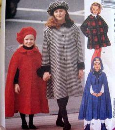 McCALLS Sewing Pattern 7359 - SZ 7,8,10 - GIRLS SWING COAT, CAPE, HAT