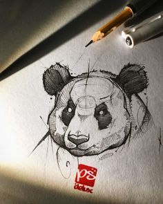 Psdelux is a pencil sketch artist based in Tatabánya, Hungary. He usually draws animal sketches. Psdelux also makes digital drawings. Pencil Art Drawings, Art Drawings Sketches, Cool Drawings, Tattoo Drawings, Panda Sketch, Panda Drawing, Animal Sketches, Animal Drawings, Drawing Expressions
