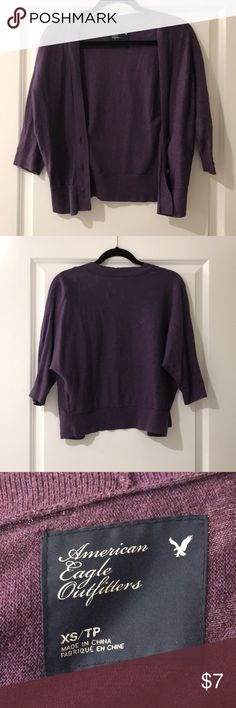 AE cardigan American Eagle 3/4 sleeve cardigan in purple. Excellent used condition. Size XS American Eagle Outfitters Sweaters Cardigans