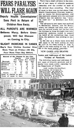 polio-1916-collage.jpg Photo by davidbellel | Photobucket  The Newpaper gave the names and address of polio victims in New York and said that the number of cases are on the rise.