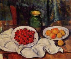 Still Life With A Plate Of Cherries Aka Cherries And Peaches Paul Cezanne Reproduction   1st Art Gallery