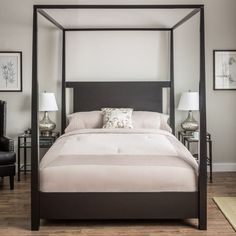 Bailey Charcoal Full-size Canopy Bed Frame (Bailey Full Size Bed ...