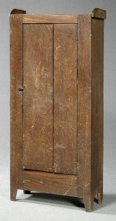 Grain painted walnut flat cupboard,
