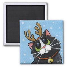 Cat Wearing Reindeer Antlers Fridge Magnet. #cats #christmas