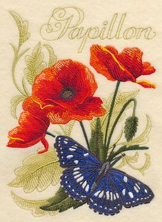 Southern White Admiral Butterfly and Poppies design (J6760) from www.Emblibrary.com
