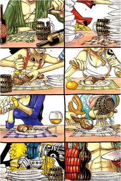 Eating/Zoro,Luffy,Usopp, Nami,Robin,Chopper,Brook, Franky/One piece