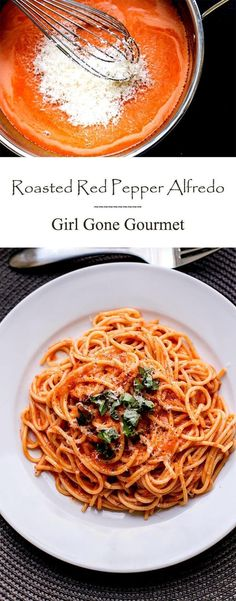 Creamy, smooth roasted red pepper alfredo | girlgonegourmet.com