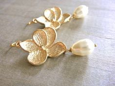 Gold Plumeria Earrings - Wedding, Bride, Bridal, Bridesmaid, Mom, Mother's Day, Gift, Friend | Beazuness - Jewelry on Ar