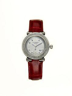 Charriol Women's Rotonde Diamond Bezel & Bordeaux Crocodile Leather Strap Watch