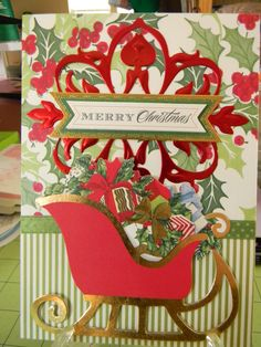 Made with Anna Griffin, Inc. Products and satin ribbon Pop Up Christmas Cards, Xmas Cards, All Things Christmas, Holiday Cards, Card Making Kits, Anna Griffin Cards, Flip Cards, Embossed Cards, Greeting Cards Handmade