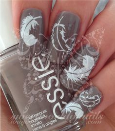 Feather Nail Art White Feathers Nail Water Decals Transfers Wraps
