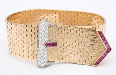 1940s Tiffany & Co. Ruby Diamond Gold Brick Mesh Belt Bracelet | From a unique collection of vintage retro bracelets at http://www.1stdibs.com/jewelry/bracelets/retro-bracelets/