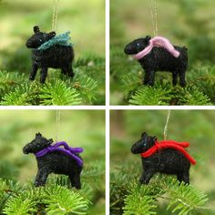 Black Lamb with Red Scarf- Needle Felted Christmas Ornament. $12.00, via Etsy.