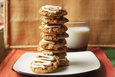 Carrot cake cookies! http://www.30poundsofapples.com/2012/06/carrot-oatmeal-cookies-with-cream-cheese-glaze/
