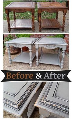 Oak end tables in distressed Aspen Gray with Black Glaze - Before and After from Facelift Furniture makeover Oak Redo Furniture, Painted Furniture, Cool Furniture, Furniture Rehab, Oak End Tables, Refurbished Furniture, Rustic Furniture, Distressed Furniture, Flipping Furniture