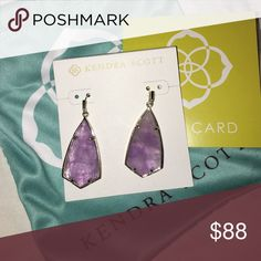 Kendra Scott amethyst Carla Brand new. I plan on wearing one time for a wedding and then can ship March 13th 2017 Kendra Scott Jewelry Earrings