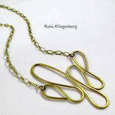 Dangerous Curves Wire & Chain Necklace - tutorial by Rena Klingenberg