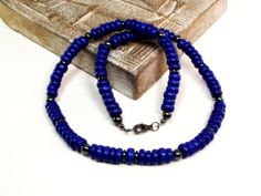 Mens Necklace  Blue and Gray Mens Beaded by DesignedByAudrey, $20.00