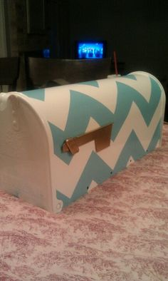 DIY Chevron mailbox. Update| I tried doing this with bright pink and silver. The typing alone was so much work!! I would recommend doing this with a very light color and a ark color... Otherwise it'll take forever