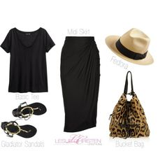 Sunday Style | Music in the Park @ LeslieChristen.com Midi skirt, basic black tee, gladiator sandals, fedora and a leopard bucket bag!
