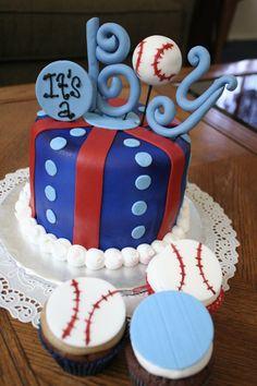 Baby Easton? :) #boy #babyshower #baseball #cake #cupcakes