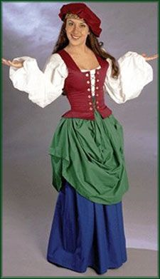 $219 Serving Wench Complete Costume: Renaissance Clothing and Medieval Costumes by Elizabethan Outfitters