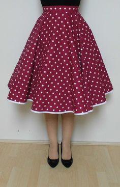 Kolová sukně - vínová s hvězdami