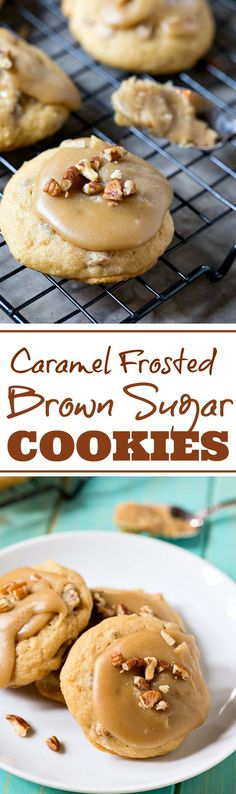Caramel Frosted Brown Sugar Cookies - soft, cake-like cookies topped with a rich caramel frosting and pecans.