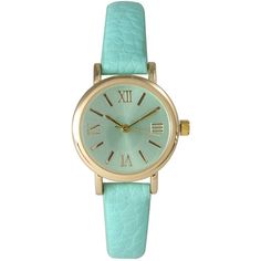 Olivia Pratt Womens Mint Gold Tone Leather Strap Watch 14710 ($37) ❤ liked on Polyvore featuring jewelry, watches, mint watches, mint jewelry, leather watches, roman numeral watches and leather wrist watch
