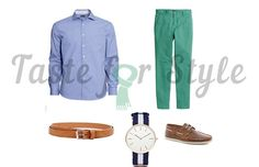 Green trousers, light blue shirt, and brown shoes