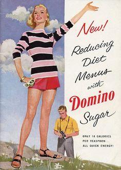 Fun Vintage Cookbook - 1954 New Reducing Diet Menus With Domino Sugar
