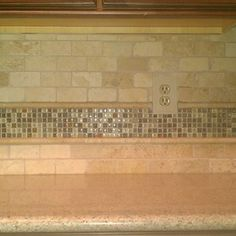 Kitchen - Backsplash Travertine Subway / Glass Mosaic
