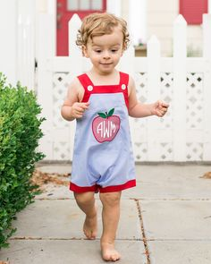 Apple+A+Day+Applique+Bubble+-+Light+blue+bubble+with+red+trim.++Buttons+on+the+front+and+metal+snaps+in+stride.++Applique+apple+on+front.+Would+look+adorable+for+the+first+day+of+preschool+with+his+initials!++