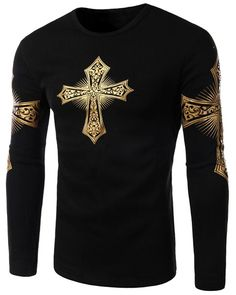Modern Style Round Neck Color Block Special Cross Print Slimming Long Sleeves Flocky T-Shirt For Men