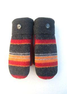Felted Wool Sweater Mittens Fleece Lined by CristinesMittens Sweater Mittens, Old Sweater, Wool Sweaters, Knit Baby Booties, Knitted Baby, Baby Knitting, Felted Wool, Wool Felt, Recycled Sweaters