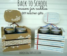 DIY Mason Jar Caddies - Back to School teacher gifts at shakentogetherlife.com. These would be cute to fill with Teacher Favorites during Teacher Appreciation Week, too!