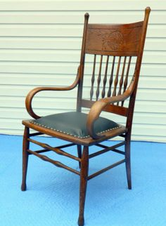 Oak Bentwood Pressed Back Arm Side Desk Chair circa 1900