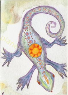 Play In The Dreamtime Lizard Watercolor Blank Card    by jeanie mossa www.PlanetCalamari.com
