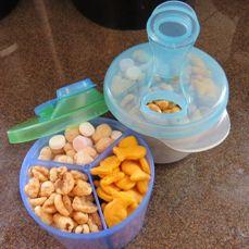 Formula Dispensers turned Toddler Travel Snack Dispensers