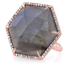 Anne Sisteron  14KT Rose Gold Labradorite Diamond Hexagon Cocktail... ($1,650) ❤ liked on Polyvore featuring jewelry, rings, statement rings, rose gold cocktail ring, cocktail rings, rose gold diamond ring and red gold jewelry