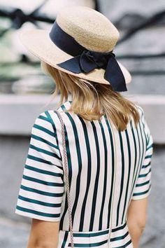 Straw hat Bow  Vertical stripes Sailor  Summmer  Feminine